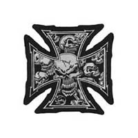 Gray iron cross skull patch | ID LT30029