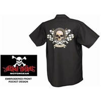 Work Shirt Color Black Size Large Style Bullet Skull Type Mens | ID WS40304L