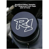Black Anodized 2004 2006 YZF 1000 R1 Engraved Fork Caps | ID 965